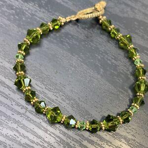 "Pretty Peridot Green Glass  Made With Swarovski Crystal Beaded Bracelet 8"""