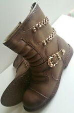 BRAND NEW - FAB BIKER STYLE ANKLE BOOTS TAN WITH CHAIN - UK SIZE 8  GREAT STYLE
