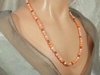So Pretty Vintage 1950s Coral Orange & White Art Glass Flower Necklace  123JL4