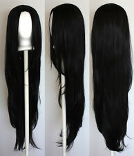 40'' Long Straight with no Bangs Black Cosplay Wig NEW