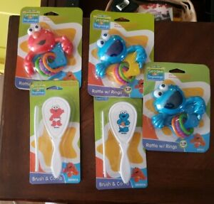 Cookie Monster Elmo Baby Sesame Street Beginnings Rattle and brush lot A1