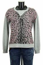 MARC CAIN Damen Luxus Sweatshirt Strick Pullover Gr S M Grau Rosa Leo Wolle