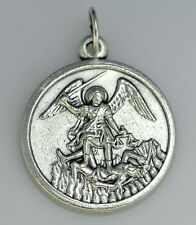 LOOK Saint Michael Sterling Silver 925 Archangel charm Pendant trample Satan New