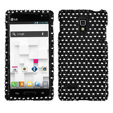 For LG Optimus L9 Crystal Diamond BLING Hard Case Snap On Phone Cover Black Dots