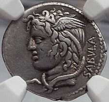 Roman Republic 74BC Rome MEDUSA Bellerophon on Pegasus Ancient Silver Coin NGC