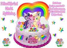My Little Pony Rainbow Hearts Stars Flowers Wafer Standup Birthday Cake Toppers