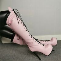 Women Lace Up Platform High Stiletto Over Knee Thigh Riding Boots Shoes 4.5-12.5