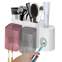 Wall Mounted Toothpaste Dispenser Toothbrush Holder Cups Bathroom Organizer Set