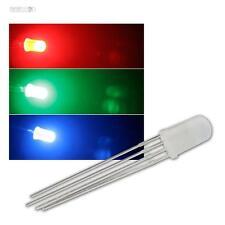 50 LED 5mm RGB diffus, 4-polig steuerbar, diffuse LEDs 3-Chip RGBs rot grün blau