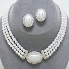 Faux white pearl diamante necklace earring set silver tone bridal jewellery 452
