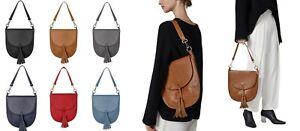 Handbag Bliss Medium Italian Leather Saddle Crossbody Shoulder Bag with Tassel