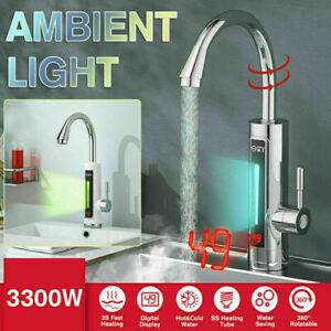 Elektrisch 220V Durchlauferhitzer Wasserhahn Sofort Warm Küchearmatur 3300W 360°