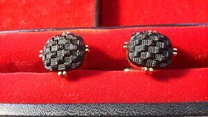 SWANK Vintage Black Cuff Links ESTATE SALE FIND Goldtone  Retro design