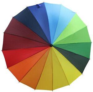 Large Bright Coloured Umbrella Rainbow Coloured Rain Umbrella 74cm