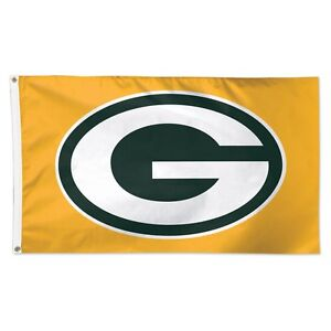 GREEN BAY PACKERS YELLOW BACK GROUND 3'X5' DELUXE FLAG BRAND NEW WINCRAFT 👀🏈