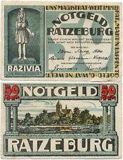 Ratzeburg, 1 Schein Notgeld 1921, Razivia die Ratgeberin, der Dom, 50 Pfennig