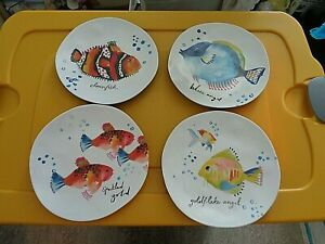 "Pier 1 One Imports Melamine Side Salad Dessert 9"" Plates 4 Fish Designs"
