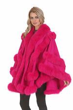 Fuscia Hot Pink Cashmere Cape With Fox Fur Trim – Empress Style