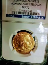 2008-W $25 (1/2 oz) Gold BuffaloNGC MS70 EARLY RELEASES. No Reserve.