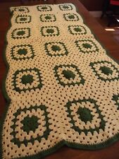 "Handmade Afghan Granny Square vintage Crochet Quilt Throw Blanket 65""x31"" yellow"