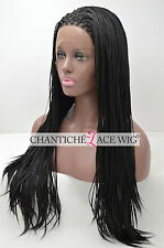 Micro Braided Wigs Micro Braided Synthetic Lace Front Wigs For Black Women 20''