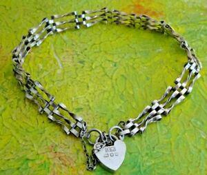 Lovely vintage solid sterling silver gate bracelet, padlock & chain.1986