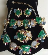 Vintage Alice Caviness Necklace Bracelet Brooch Pin & Earrings Book Piece Set