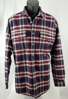 Men's Tommy Hilfiger Blue Red Plaid Button Up Shirt 90s Crest Logo Large Vintage
