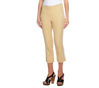 Isaac Mizrahi Live! 24/7 Stretch Regular Pull-On Crop Pants, Pale Khaki,Reg 14
