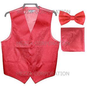 New Vesuvio Napoli Men's paisley Tuxedo Vest Waistcoat_Bowtie & Hankie Coral