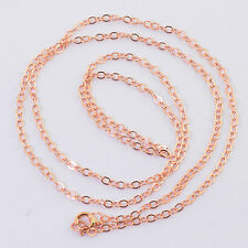14K SOLID ROSE GOLD Cable Chain Necklace 18 inch Length with Springring Clasp