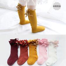Toddler Bow Knee High Socks Baby Cotton Kids Girls School Socks Handmade Button