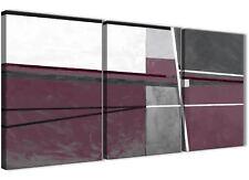 3 PEZZI VIOLA PRUGNA GRIGIO PITTURA ARTE da Cucina in Tela-ASTRATTO 3391 - 126 cm
