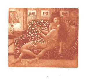 Ex Libris Bookplate Exlibris Etching Patricia Nik Dad - France