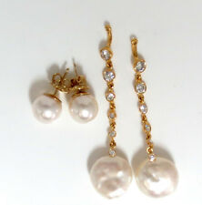 0.80ct Diamonds South Sea White Pearl Studs & Jacket Earrings 14KT