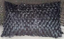 Black Rectangle Cushion Cover Black Ribbon Style 30x50cm