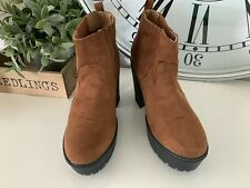 Select Size 7 Ladies Chelsea Boots Brown Suede Feel