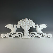 Vintage Cast Iron Overdoor Pediment with Doves and Fruit
