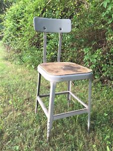 Reclaimed Gray Metal LYON Style INDUSTRIAL FACTORY STOOL CHAIR used