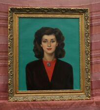 More details for 'young lady' oil painting by malcolm haylett  (1923-2000) c.1940s framed, looks