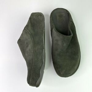 Fitflop 8 Gogh Suede Leather Clogs Green Comfort Slip-on Women's $100
