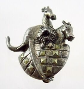 Vintage Sterling Silver Noahs Ark Marcasite Pin 925 Figural Brooch Animals Lion