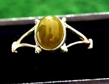 A Sterling silver ring with a nice green jade  stone,in size O