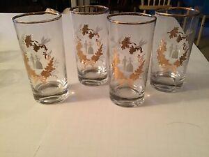 4 Vintage Wedding Glasses Bride & Groom - Gold Trim  Libbey