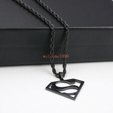 Charms Necklace rope chain 22'' Large Black stainless steelSuperman Pendant