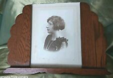 Authentic Art Deco Oak Photo Frame with Flapper Girl Photo.
