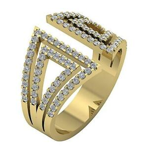 SI1 G 0.85 Ct Open Engagement Ring Round Diamond 14K Solid Yellow Gold Prong Set