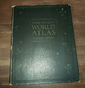 "Large 14"" Vintage 1931 Rand McNally World Atlas PREMIER EDITION World & US Maps"
