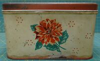 "Large Rectangle Tin Bread Box with Air Holes and Flower on Front 14"" x 10"" x 8"""