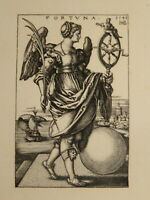 Hans Sebald BEHAM (1500-1550) GRAVURE ALLEGORIE FORTUNE FEMME RENAISSANCE 1541